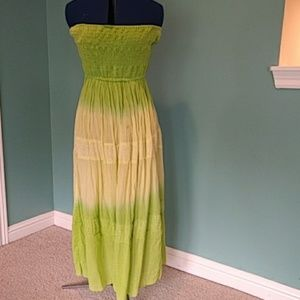 Dresses & Skirts - Lime green and yellow ombre tie dye swim coverup